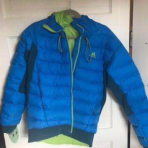 Adidas cozy down hooded jacket, slim fit